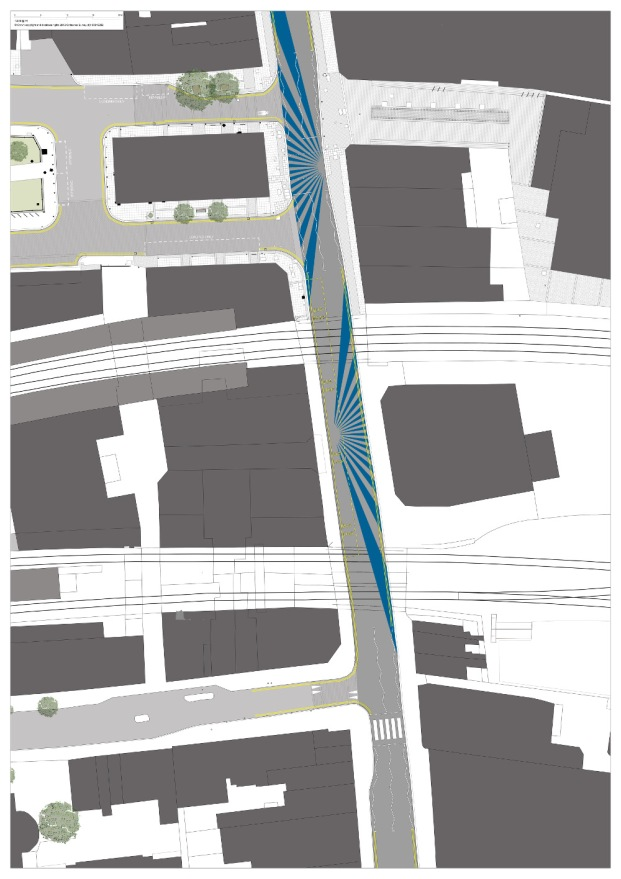 Rye Lane Road Markings in Blue A3